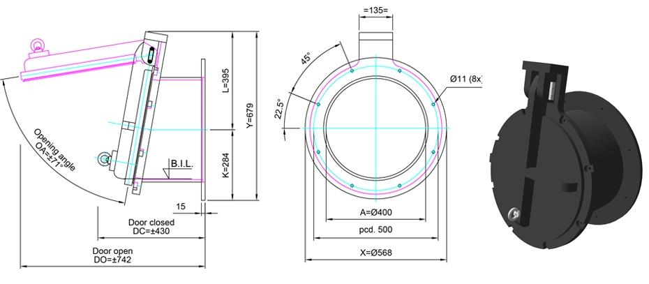 400mm Tidal Flap Valve line drawing