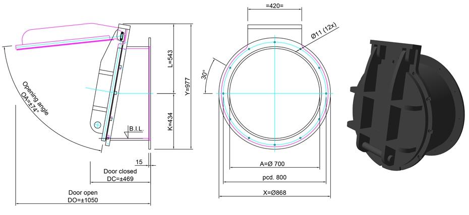 700mm Tidal Flap Valve line drawing