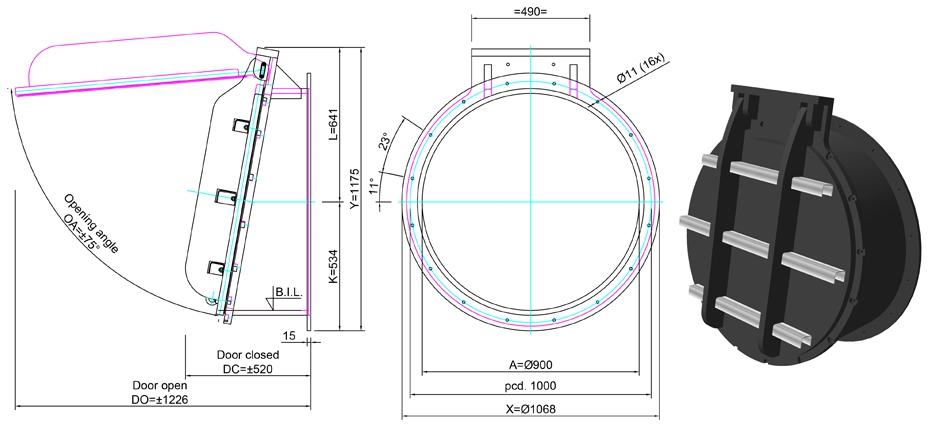 900mm Tidal Flap Valve line drawing