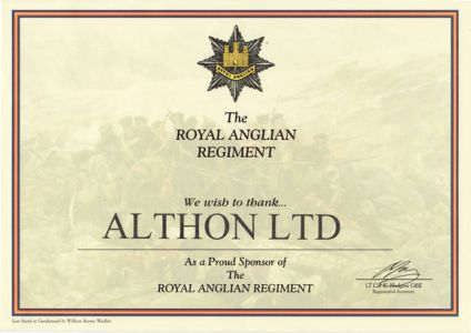 Althon Sponsor Royal Anglian Regiment